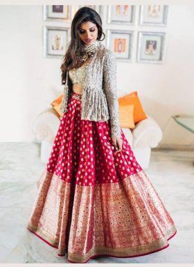 Rani Pink Lehenga Choli With Sequence Koti