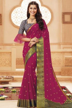 Rani Pink Party Wear Satin Silk Saree