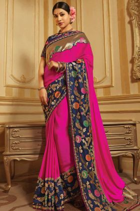 Rani Pink Two Tone Barfi Silk Navy Blue Border Saree