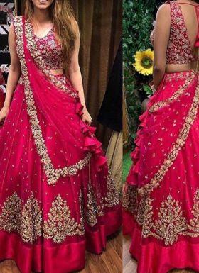 Rani Pink Zari Embroidered Lehenga Choli