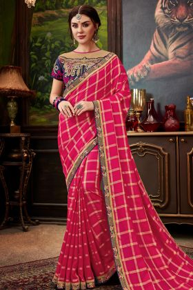 Rani Checks Silk Fancy Saree Online