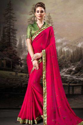 Rani Pink Chiffon Festive Saree Online