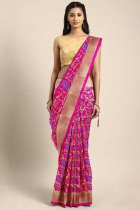 Rani Pink Color Banarasi Art Silk Festival Saree Weaving Work