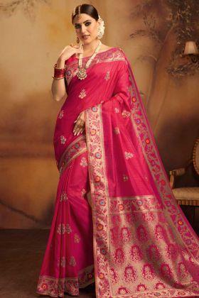 Rani Pink Color Fancy Jacquard Silk Wedding Saree With Jacquard Work