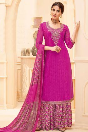 Rani Pink Color Pure French Crepe Sharara Salwar Suit
