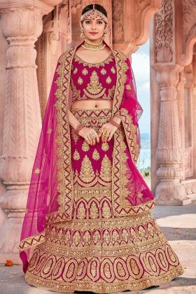 Rani Pink Color Velvet Designer Bridal Lehenga Choli