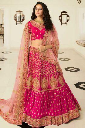 Rani Pink Heavy Embroidered Satin Silk Bridal Lehenga