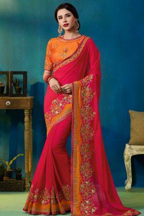 Rani Pink Heavy Wedding Saree With Silk Georgette Fabric