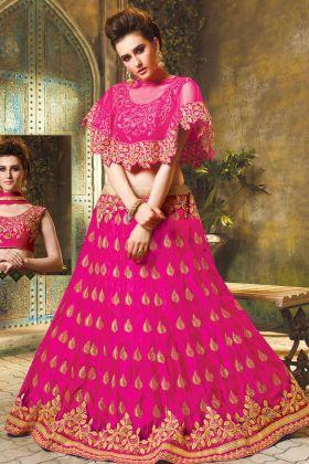 Rani Pink Jacquard Net Cape Pattern Lehenga Choli