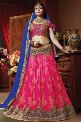 Rani Pink Jacquard Net Lehenga Choli