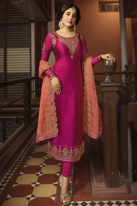 Rani Pink Satin Georgette Straight Suit Online
