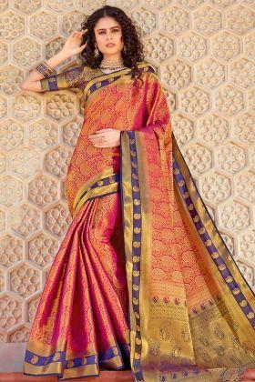 Rani Pink Traditional Saree In Weaving Work