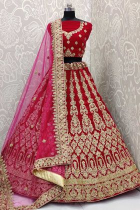 Rani Pink Velvet Lehenga Choli In Coding And Stone Work