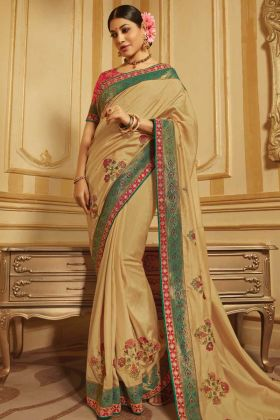 Raw Silk And Jacquard Beige Fancy Saree Design With Lace Border