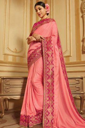 Raw Silk And Jacquard Pink Embroidery Work Festival Saree