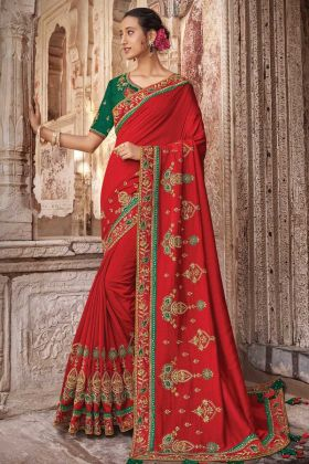 Raw Silk Embroidery Work With Blood Red Saree For Karwa Chauth