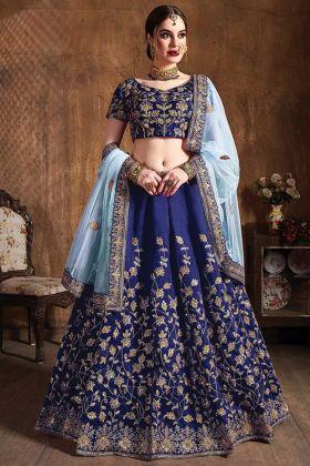 Raw Silk Navy Blue Color Wedding Embroidery Designer Lehenga