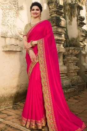 Raw Silk Prachi Desai Hot Pink Designer New Saree