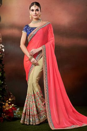 Raw Silk Blouse With Net Fabric Pink Color Wedding Saree