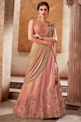 Raw Silk Peach Choli With Silk Traditional Lehenga Saree