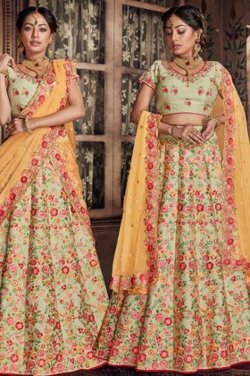 Raw Silk Wedding Bridal Lehenga Choli In Pista Color