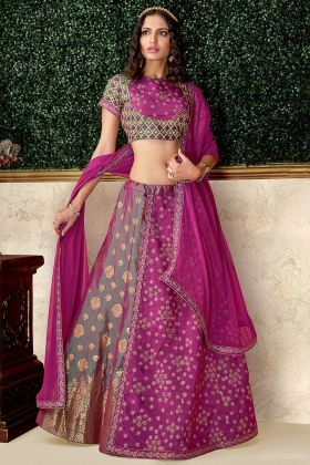 Raw Silk Wedding Lehenga Choli In Green and Magenta Color