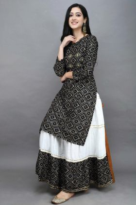 Rayon Cotton Black Kurti Collection With Bandhej Print