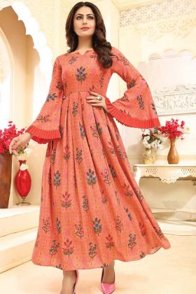 Rayon Orange Color Printed Gown Dress