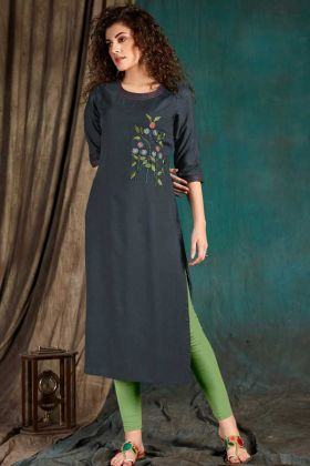 Rayon Slub Dark Grey Embroidered Kurti