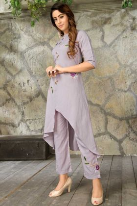 Rayon Anarkali Kurti Thread Work Grey Color