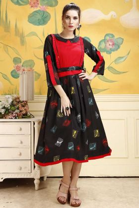 Rayon Black Color Printed Party Wear Kurti
