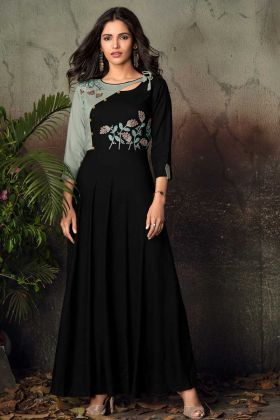 Rayon Black Fancy Gown