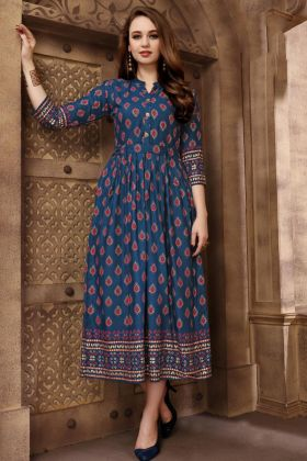 Rayon Blue Color Anarkali Kurti For Wedding