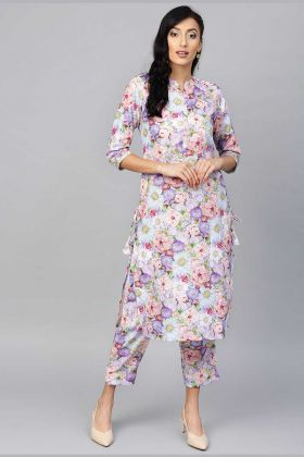 Rayon Colorful Pretty Readymade Kurti And Pant In Multi Color