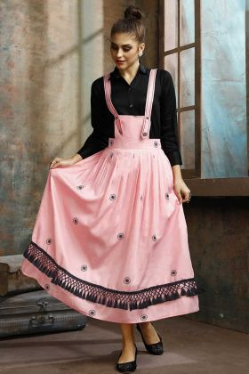Rayon Cotton Pink Color Readymade Cotton Fabric With Thread Work