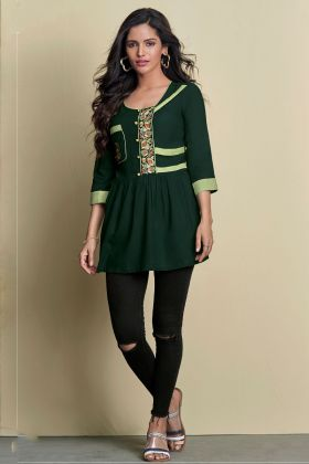 Rayon Dark Green Fancy Short Top