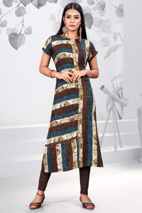 Rayon Designer Kurti Multi Color With Printed Work