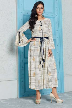 Rayon Designer Kurti Off White Color With Printed Work