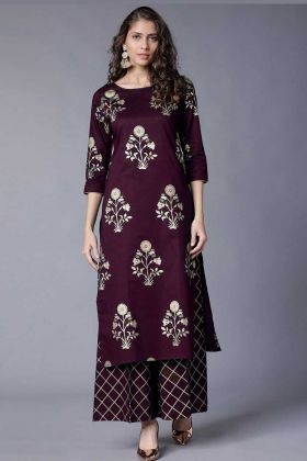 Rayon Designer Palazzo Kurti Set Foil Printed Work In Maroon Color