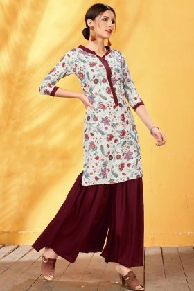 Rayon Digital Printed Cream Kurti
