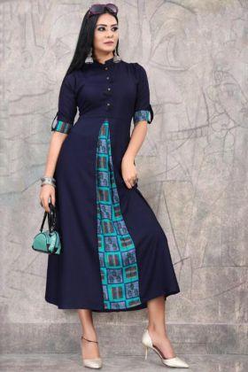 Rayon Fabric Blue Festive Wear Kurti Design