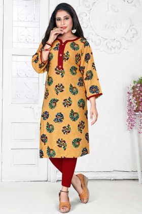 Rayon Fancy Kurti Occur Yellow Color With Printed Work
