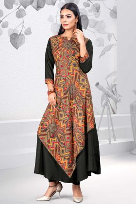 Rayon Fancy Kurti Printed Work In Multi and Black Color