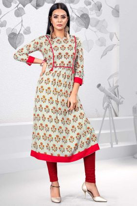 Rayon Fancy Kurti Printed Work In Off White Color