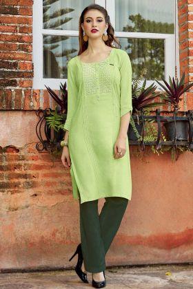 Rayon Flex Designer Kurti Schiffli Work In Parrot Green Color