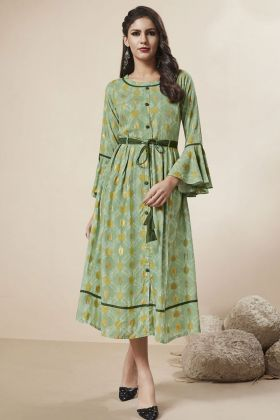 Rayon Foil Light Green Stylish Kurti