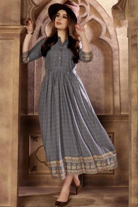 Rayon Grey Color Anarkali Kurti For Wedding