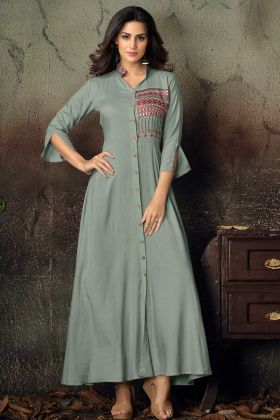 Rayon Grey Festive Gown Online