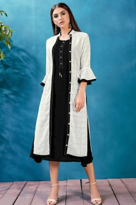 Rayon Jacket Style Printed Kurti In Black Color