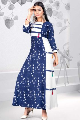 Rayon Kurti Printed Work In Blue and White Color